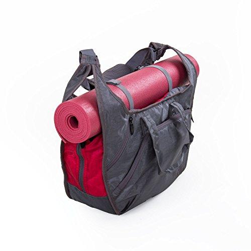 Yogatasche BOHDI NATARAJ (grau/rot), Yogamattentasche, viele praktische Fächer, leichtes & robustes Material, viel Platz für Handtuch, Wechselkleidung