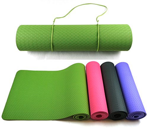 Good Times Yogamatte, TPE Matte, rutschfest, schadstofffrei, umweltfreundlich, hypoallergen und hautfreundlich, SGS geprüft, Gymnastikmatte, Fitnessmatte, Sportmatte, Trainingsmatte mit Tasche und Trageband (Grasgrün)