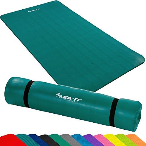 MOVIT Pilates Gymnastikmatte, phthalatfrei, SGS geprüft, L 190cm x B 100cm bzw 60cm, Stärke 1,5cm, Yogamatte, 12 Farben