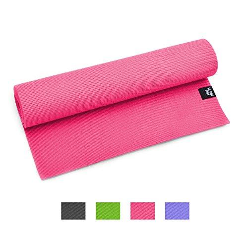 Yogamatte – We Love Yoga – 180 x 60 x 0,6cm extrem rutschfest mit optimaler Dämpfung, leicht und Schadstofffrei – für Yoga, Pilates, Stretching, Gymnastik – von Zen Power, Farbe: Pink