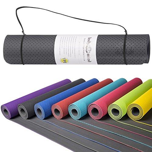 Body & Mind Yogamatte – umweltfreundliche, hypo-allergene Yoga TPE-Matte – extrem rutschfest, weich und schadstoff-frei – 183 x 61 x 0,5cm inkl. Trageschlaufen – Grau