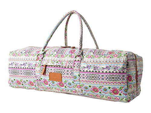 Yogatragetasche »Ghanpati« von #DoYourYoga aus Segeltuch aufwendig verarbeitet, die Tasche eignet sich für EXTRA DICKE Yogamatten, Pilatesmatten, Fitnessmatten und Gymnastikmatten bis zu einer Größe von 186 x 62 x 1,5 cm, die Yogatasche ist in 12 modernen Top-Designs erhältlich. rosa Muster