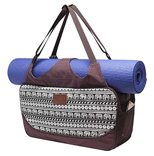 Yogatasche »Vimalaa« von #DoYourYoga aus Segeltuch (Baumwoll-Canvas), aufwendig verarbeitet, für EXTRA-LANGE und EXTRA-BREITE Yogamatten! Farbe: Elefanten