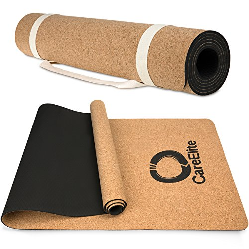 Yogamatte aus Kork | Yogamatte mit Tragegurt aus Baumwolle | Gymnastikmatte rutschfest, leicht zu reinigen & schadstofffrei | Umweltfreundliche Kork Fitnessmatte ohne Plastik für Anfänger und Fortgeschrittene